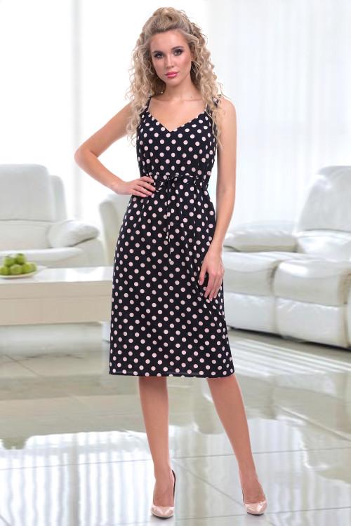 Платье-сарафан Эльза (дотс пинк)