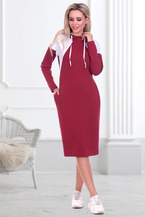 Платье-худи Парма (вишня)